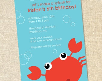Sweet Wishes Crazy Crab Turquoise Party Invitations - PRINTED - Digital File Also Available