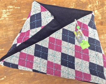 Pink Blue Fleece cowl scarf, reversible scarf, twist scarf, mobius scarf, circle scarf, cowl scarf, fleece neck warmer, neck gaiter