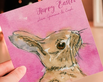 Easter Bunny Card, Personalised Easter, Greeting Card, Easter, Rabbit Card , Easter Gift,  Cute Bunny Card, Watercolour Bunny Art