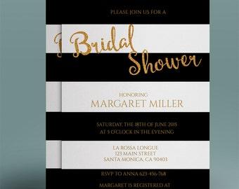 Art Deco Bridal Shower Invitation Template Printable Bridal - Black and white bridal shower invitation templates