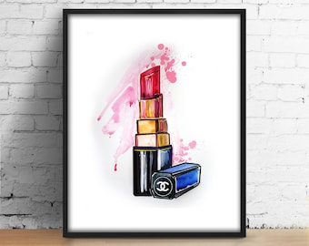 Chanel Lipstick print Coco Chanel Red Lipstick digital Fashionista printable wall art Illustration Fashion watercolor decor Girl Room poster