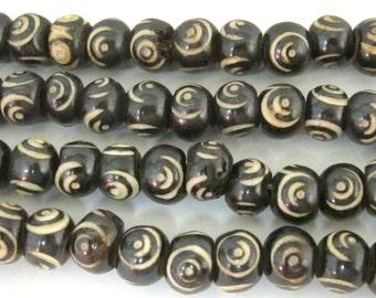 10 beads - 10 mm Black Brown color Tibetan eye prayer mala bone beads  - HB057z