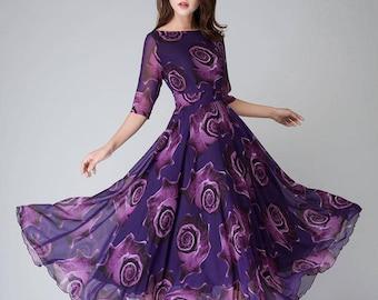 Purple floral dress, womens dresses, maxi dress, half sleeve dress, party dress, prom dress, long chiffon dress, custom dress 1529