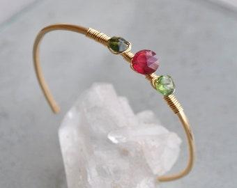 Tourmaline bracelet pink and green - artisan handmade jewelry - 14 K Gold gemstone bracelet - stackable Bangle Christin Piedra