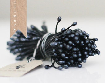 144 Stems of Black Pearlized Millinery double-ended Stamen Flower Pips