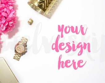 Stock Photography Pink and Gold Styled Stock Image | Phone | Watch | Fashion Background | Product Photography | Styled Photography Desktop