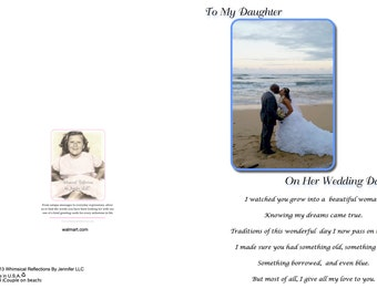 To my daughter on her wedding day (Couple on Beach) Greeting Card, Wedding Card, Mother To Daughter Greeting Card, Special Occasion,