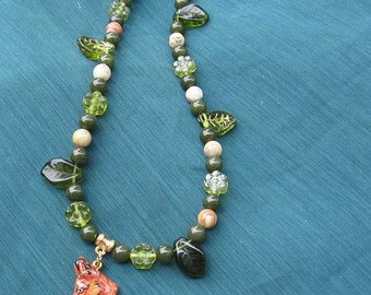 Markdown Sale...RED FOX Profile Clay Head Necklace Features Agate Beads, BC Jade & Glass Beads
