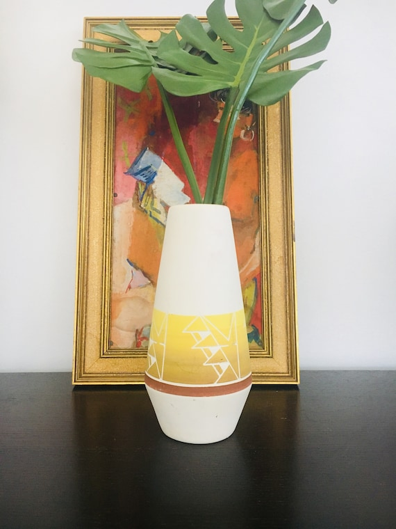 Vintage Handblown + Signed Sioux Pottery - SPRC Southwestern Boho Ceramic Vase - Yellow, Brown + White