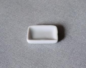 1 x 20 mm white porcelain rectangle plate