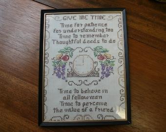 Vtg Hand Embroidered Wisdom on Linen and Framed