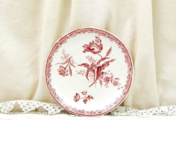 Small Antique Plate with Flower Pattern in Maroon Fontanges Collection by Sarreguemines France, French Country Cottage Decor, Wall Hanging