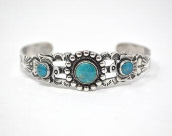 Vintage Southwest Style Native American Stamped Sterling Silver Cuff Bracelet - 604040237