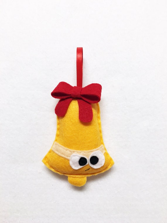 Limited Edition Bell Ornament, Christmas Ornament, Felt Holiday Ornament, Jeff the Grumpy Bell, Secret Santa Gift, Coworker Gift