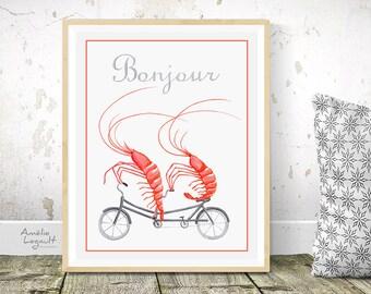 Affiche crevette en bicyclette, crevettes à vélo tandem, affiche bonjour, affiche pour la cuisine, formats 5x7'', 8x10'' et 11x14''
