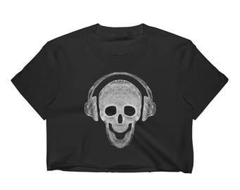 Skull and Headphones Women's Crop Top