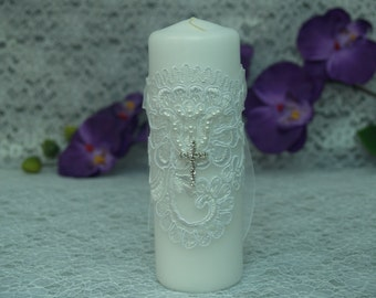 Baptism, First Communion Candle #BC2 white pillar candle with lace and Swarovski crystals cross,Confirmation,Unity Candle,Ceremony Tradition