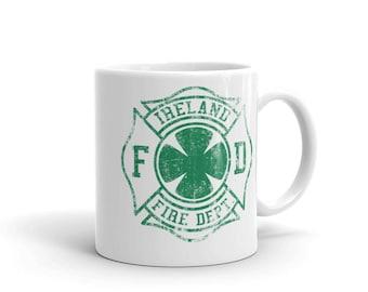 Ireland Fire Department Irish Firefighter St Patrick's Day Fire Fighter Fireman Vintage Maltese Cross Green FD Mug
