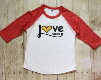 Girls Valentines Day Shirt-Hugs and Kisses Valentine shirt-XOXO-Valentines Day Shirt-Red Valentines Shirt-Red Raglan-Made in USA