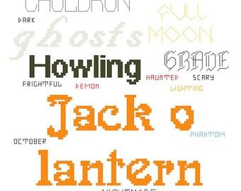 Halloween sampler hard copy cross stitch pattern