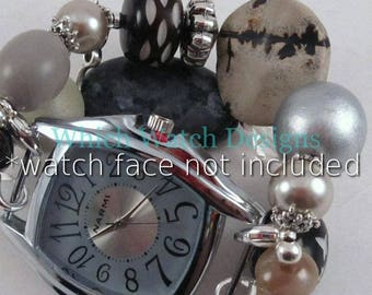 Smoky Too.. Gray, Brown, Cream, Silver Interchangeable Beaded Watch Band