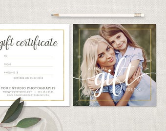 Gift Certificate Template - Photography Gift Certificate Template, Instant Download, Gift Certificate Printable, Photoshop Template
