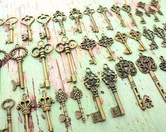 100 Vintage Style Skeleton Keys Collection Antique Brass