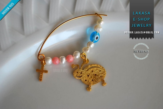 Ladybird Baby Brooch Sterling Silver Gold plated Freshwater Pearls Handmade Jewelry Best Gift Baptism Religious Cross Birthday Mother Moomy