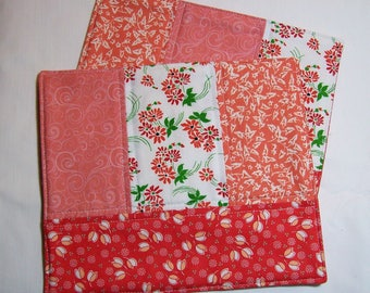 Red and White Quilted Mug Mat. Retro Red Floral. Cottage Chic. Vintage Style.