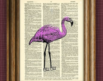 Pink Flamingo Art Print over an upcycled vintage dictionary page book art altered