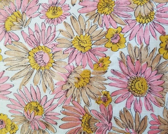 Vintage Fabric, Retro Fabric, Vintage Flroral Fabric, Pink and Tan Floral Fabric
