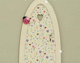 Spring Meadow Fairy Door, Indoor Fairy Door, Skirting Board Fairy Door, Shelf Sitting Fairy Door, Handmade by Jennifer