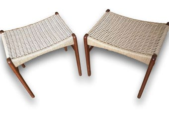 Danish Paper Cord Hand-Woven Stool (Two Available)