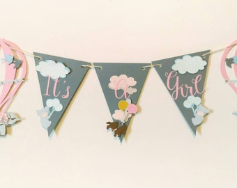 It's a girl baby shower decorations, girl baby shower banner, up up and away