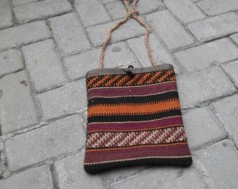 kilim bag, bag kilim, decor rug, vintage bag, wool bag ,student bag, young bag, bag turkish, handmade kilim bag,, cm 23x28