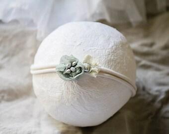Natural Tieback - Baby Headband Photo prop with pearls