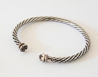 Silver Torque Bracelet, Sterling Silver Bangle, Silver Torc, Celtic Bangle, Celtic Bracelet, Viking Torque, Viking Bracelet, Gift For Her,