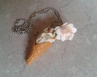 Smarties and vanilla ice cream cone necklace
