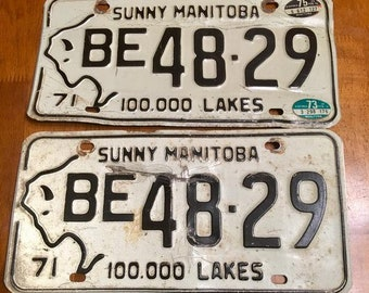 1971 Manitoba Canada License Plate Matched Set BE 48-29