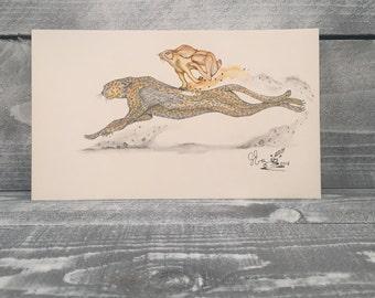 Original Watercolor Pencil Drawing Hand Sketch Illustration With Pen Ink Detail, Original Artwork by Guido E. Orsini,Item #513119157