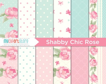 Digital Paper - Shabby Chic Rose, Scrapbook Paper, Digital Pattern, Commercial Use, JPEG, PDF