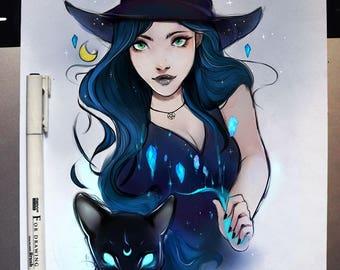 Print A4 Cat Witch