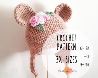 PATTERN ONLY - Toddler/Child bear beanie/beanie crochet pattern/floral bear beanie/bear hat/animal beanie
