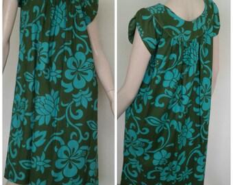 "Vintage ""Liberty House"" Dress Hawaiian/Cotton Sun Dress/Tropical  Blue~Green  Honolulu Muu Muu Resort Beach/Size Medium~Large"
