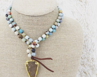 Knotted Amazonite Arrowhead Necklace