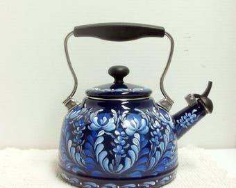 Dark Cobalt Blue, Tea Kettle, Whistling Tea Kettle, Hand Painted, Rosemaling, Scandinavian Design, Swedish Norwegian, Folk Art,