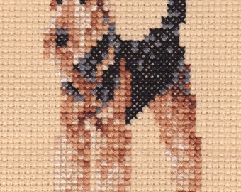 Airedale counted cross-stitch chart