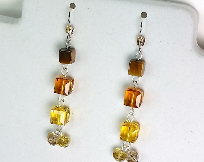 Tequila Sunset Sparkle Earrings - Quadruple Drop Earrings - Swarovski Faceted Cube Earrings - Amber, Yellow and Brown Earrings