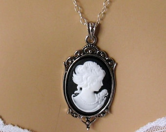 Black Cameo: Victorian Woman Black Cameo Necklace, Mothers Day Gift for Her, Black White Cameo, Victorian Wedding Jewelry Romantic Jewelry