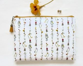 Gifts for her, Waterproof flower stems, botanical, toiletry bag, make-up pouch, eco friendly, cosmetic bag, eco gift.iPad 9.7 sleeve, Air 2